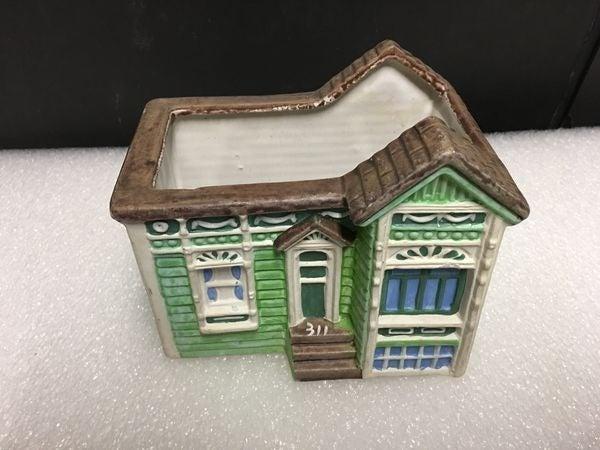 Vintage Ceramic Planter of Cottage Home