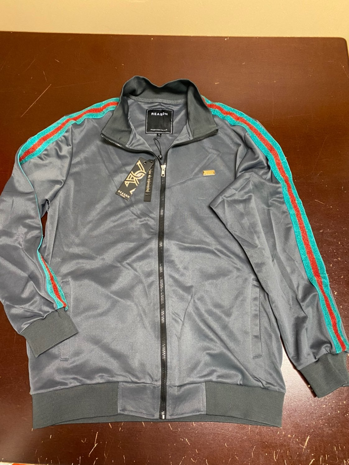 Reason clothing grey track jacket XL