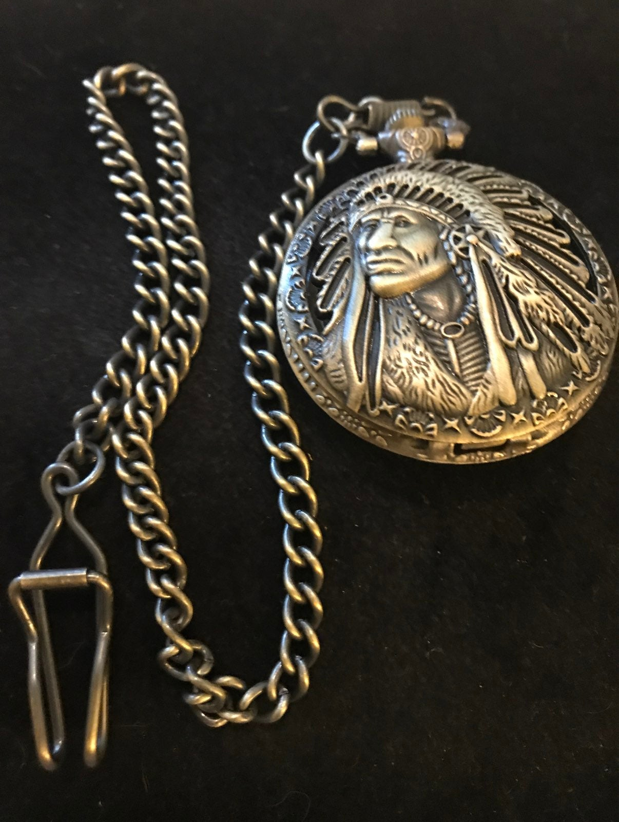 Indianhead pocket watch with chain
