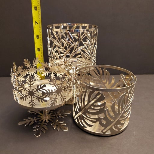 3 Bath and body works candle holders