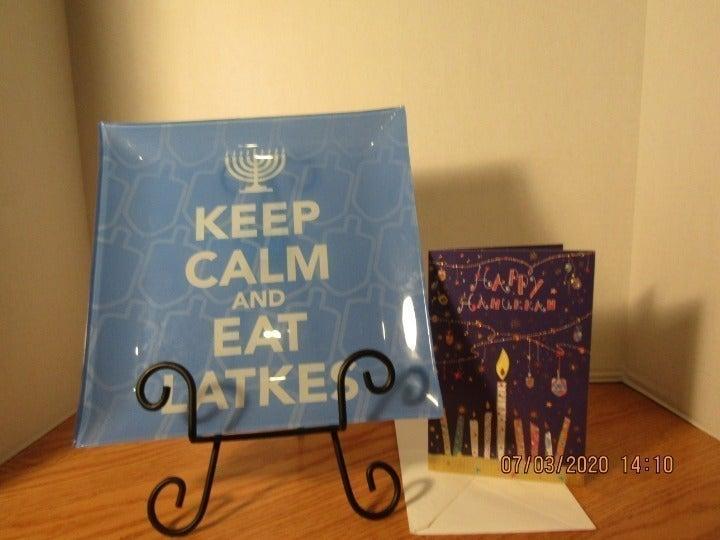 Hanukkah Plater and Hanukkah card