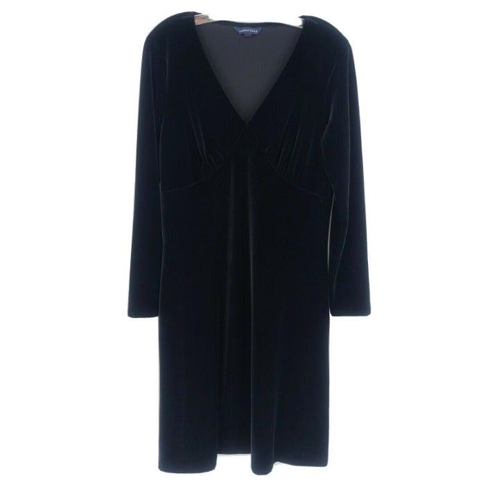 Lands End Black Long Sleeve Velvet Dress