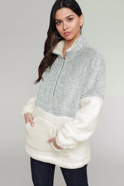 Gray White Oversized  Fleece Pullover XL