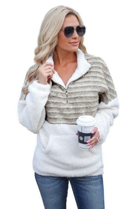 Brown Cozy Striped Furry Sweatshirt 2XL
