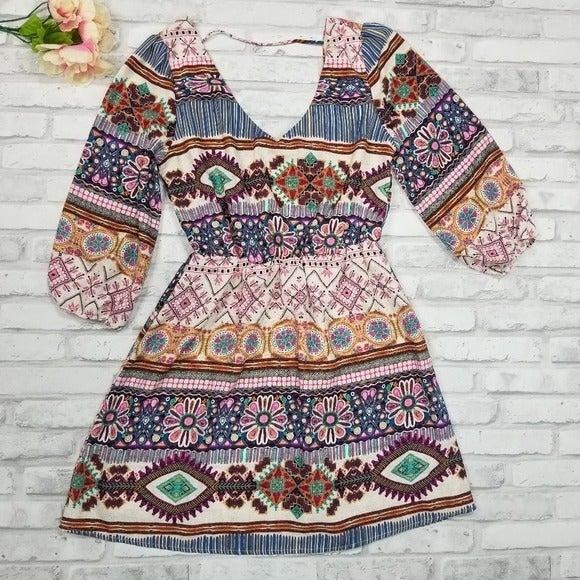 Pink owl boho style long sleeve sundress