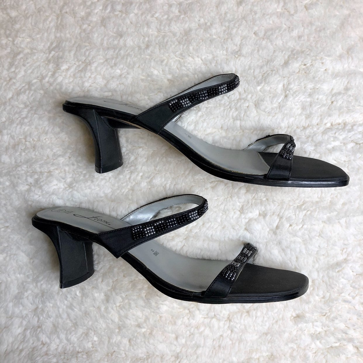 Black Beaded Heeled Sandals