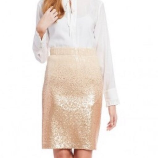 Cremieux Ombre Sequin Gold Ivory Skirt