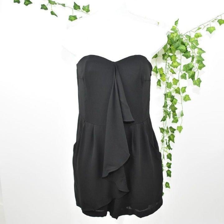 Express black ruffle short romper sleeveless