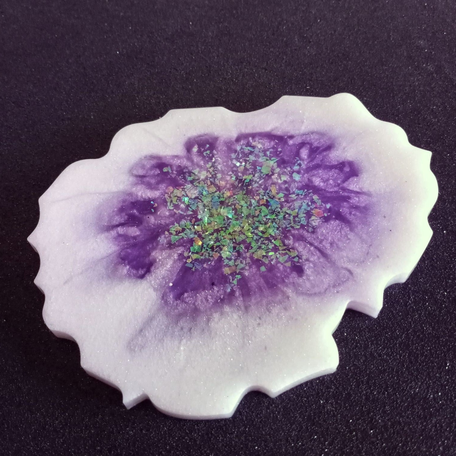Purple white geode candle drink coaster