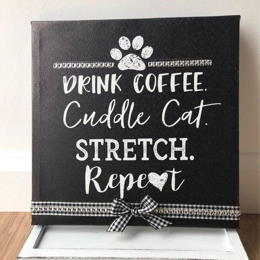 Farmhouse cat lover canvas home decor