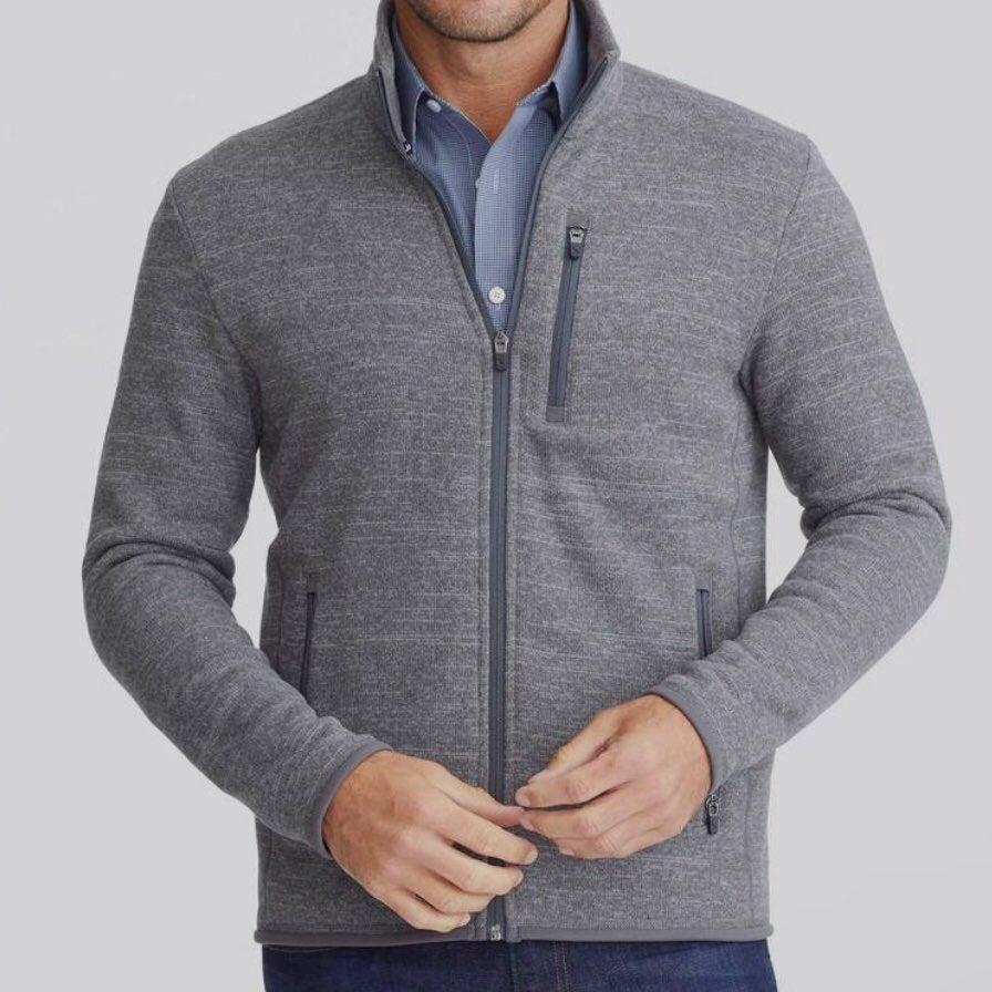 untuckit  dark gray fleece zip up jacket