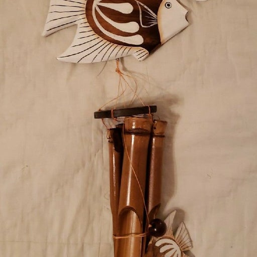 Wooden New With Tag Fish Wind Chime