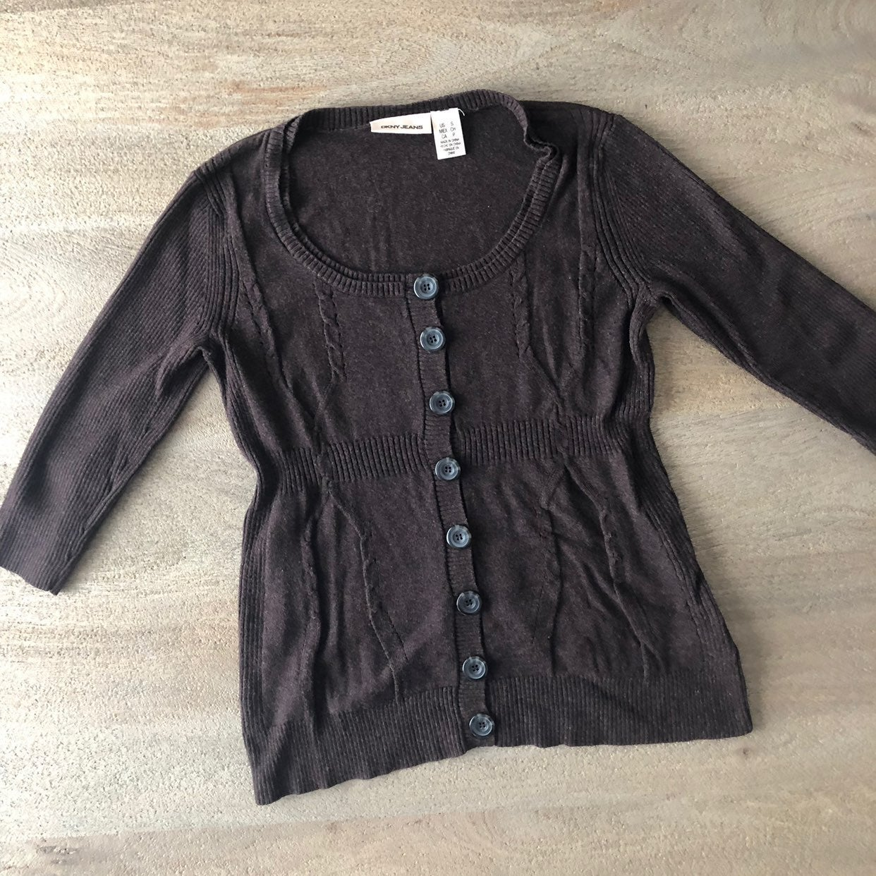 Chocolate Button Up Sweater Top -B7