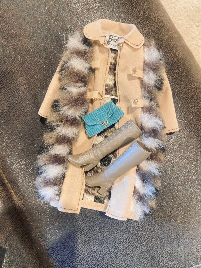 Barbie Suede And Fur Jacket Boots Clutch