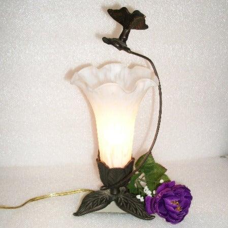 Trumpet Flower & Brass Hummingbird Lamp