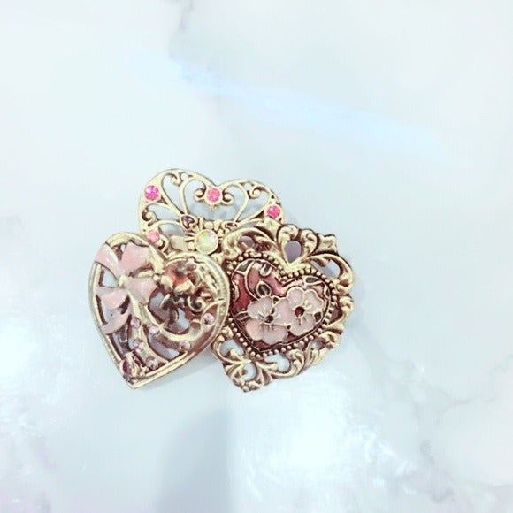 Pink Gold Tone Heart Brooch Bling Pin