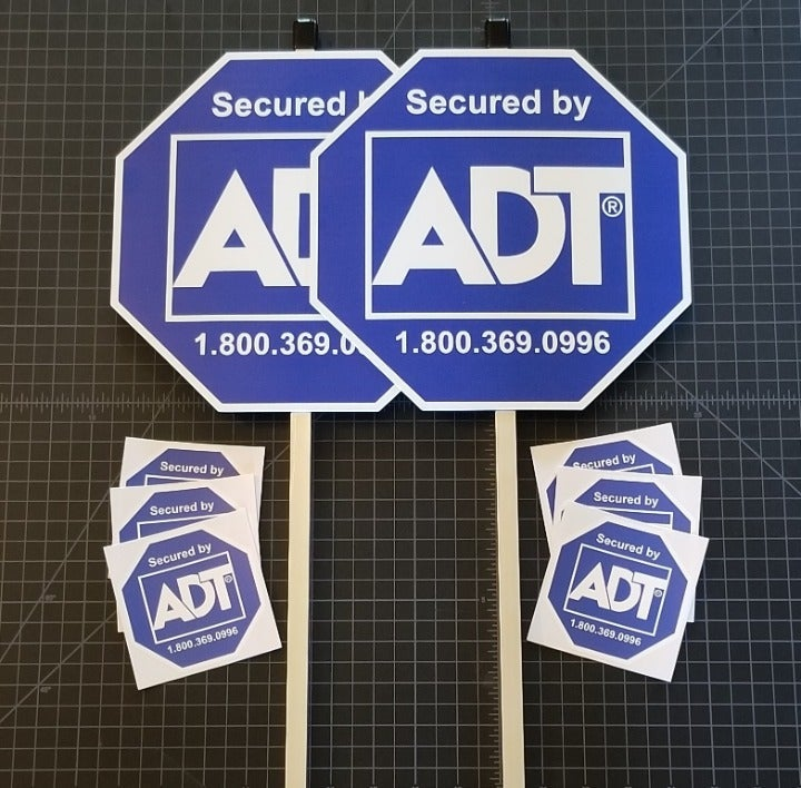 2 ADT Yard Signs with Decals