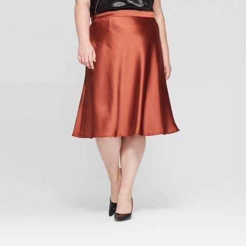 Ava & Viv Copper Satin Skirt