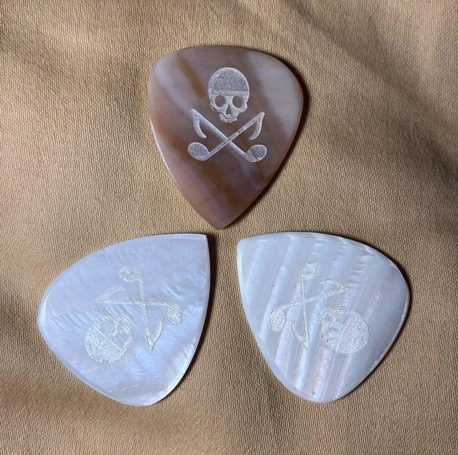 3 Mother of Pearl Guitar Picks Bundle