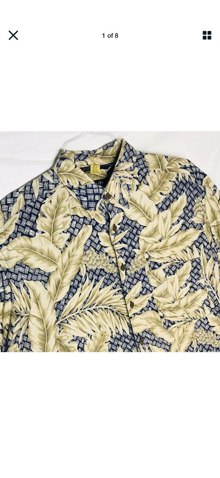 Nautica Lrg Rayon Leaves Hawaiian Shir