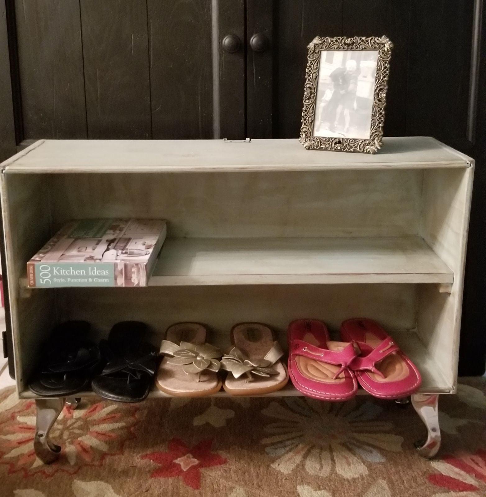Upcycled Industrial Shelf w/ Shiny Legs