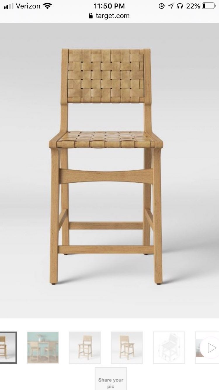 Ceylon wood and woven counter stool