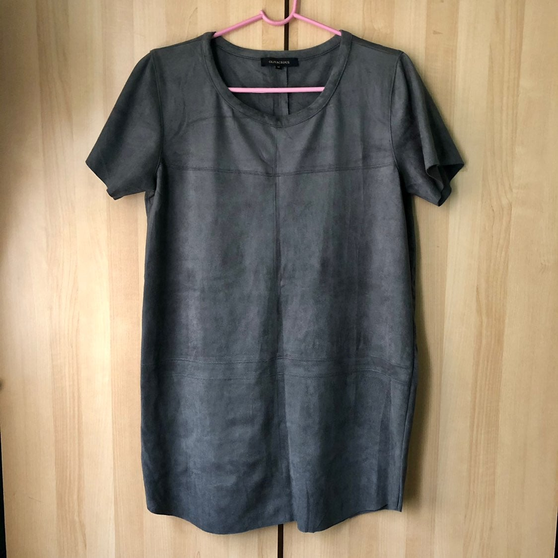 Olivaceous Faux Suede T Shirt Dress