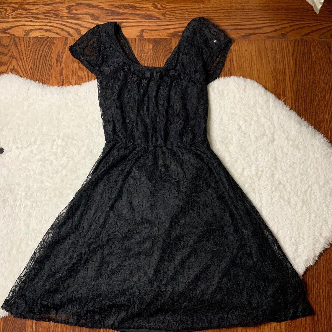 Black criss cross  open back lace dress