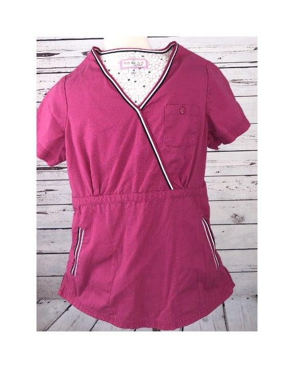 Koi Nursing Scrub Top Small Pink Vneck