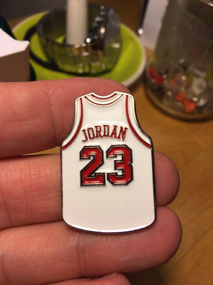 Michael Jordan white jersey enamel pin