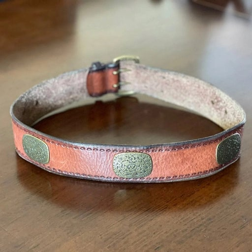 Fossil Brass Plated Leather Belt M