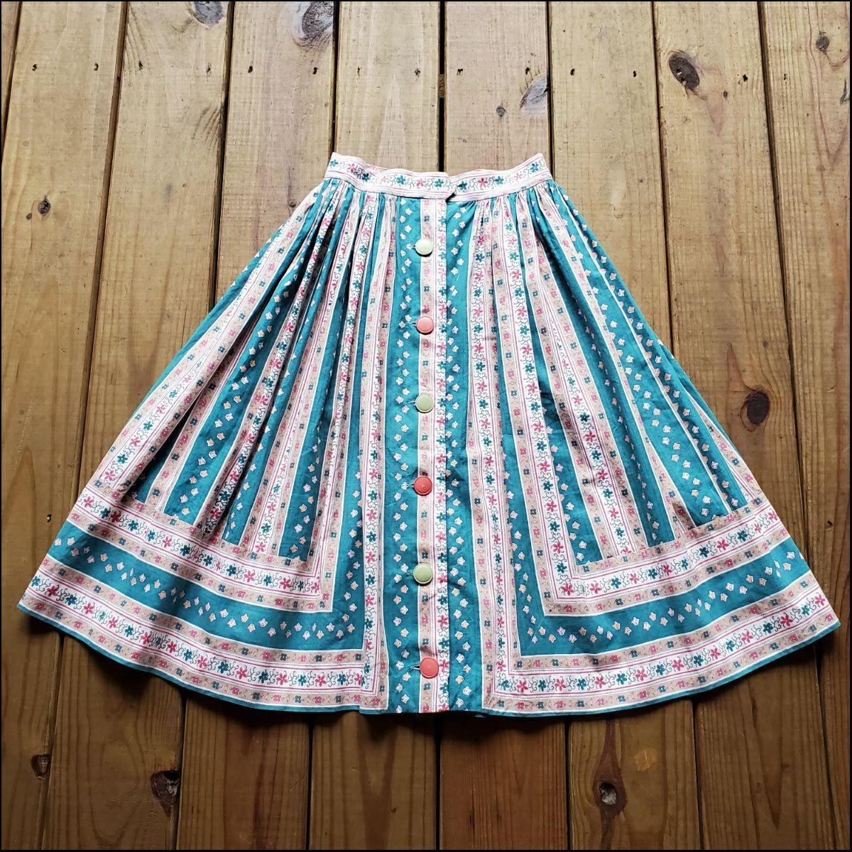 Vintage 50's XS full floral stripe skirt