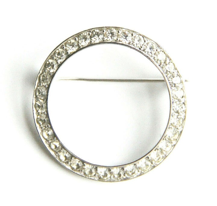 Pennino Crystal Rhinestone Circle Brooch