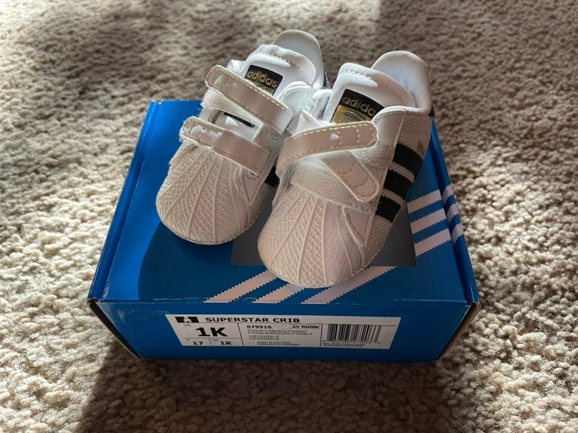 Adidas Superstar Crib Shoes 1K White Blk