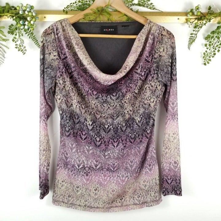 VTG Purple ruched vneck womans blouse