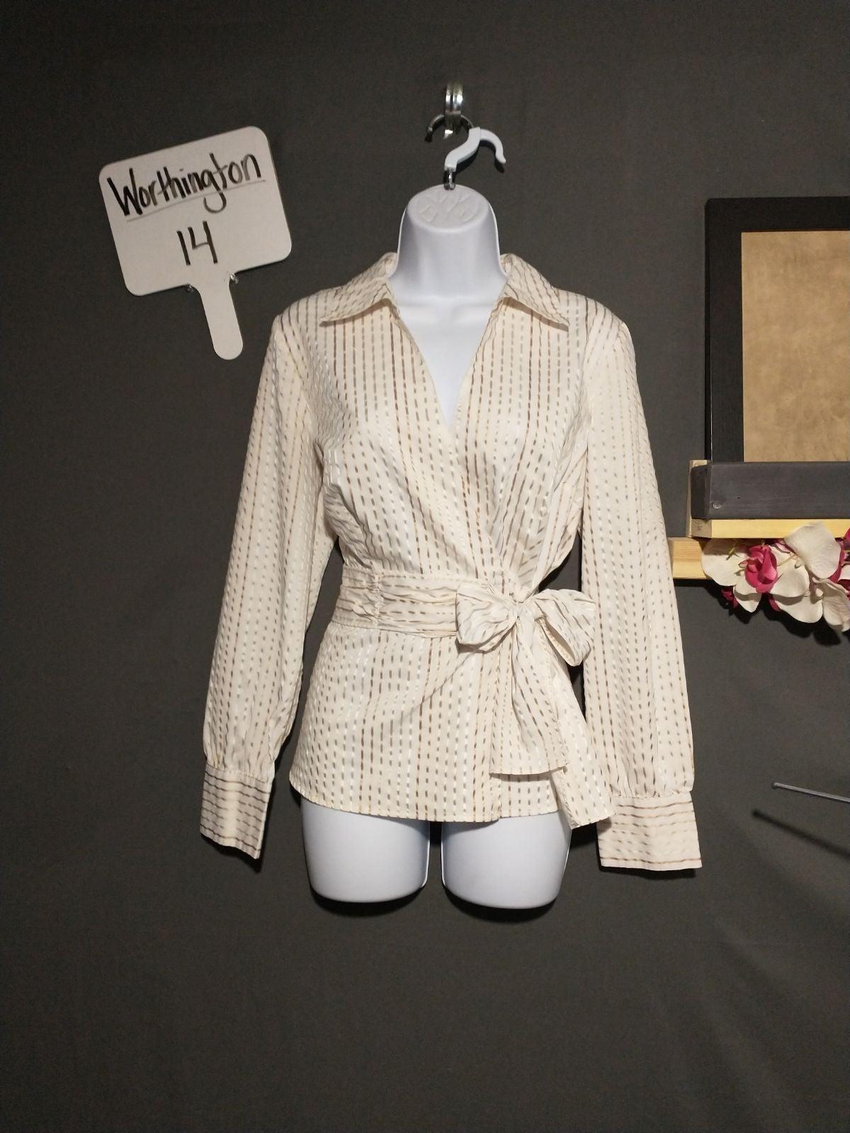 Worthington white blouse with bow large