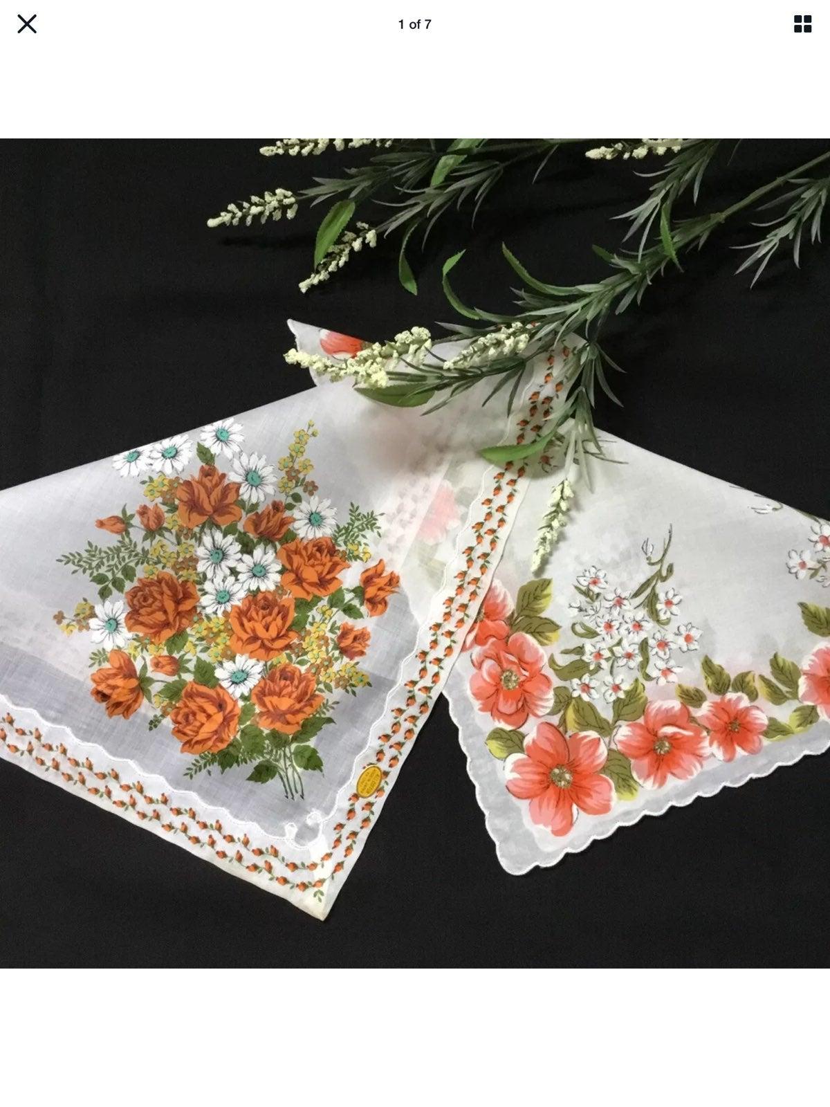 Vtg Hankies Roses Orange Blossom
