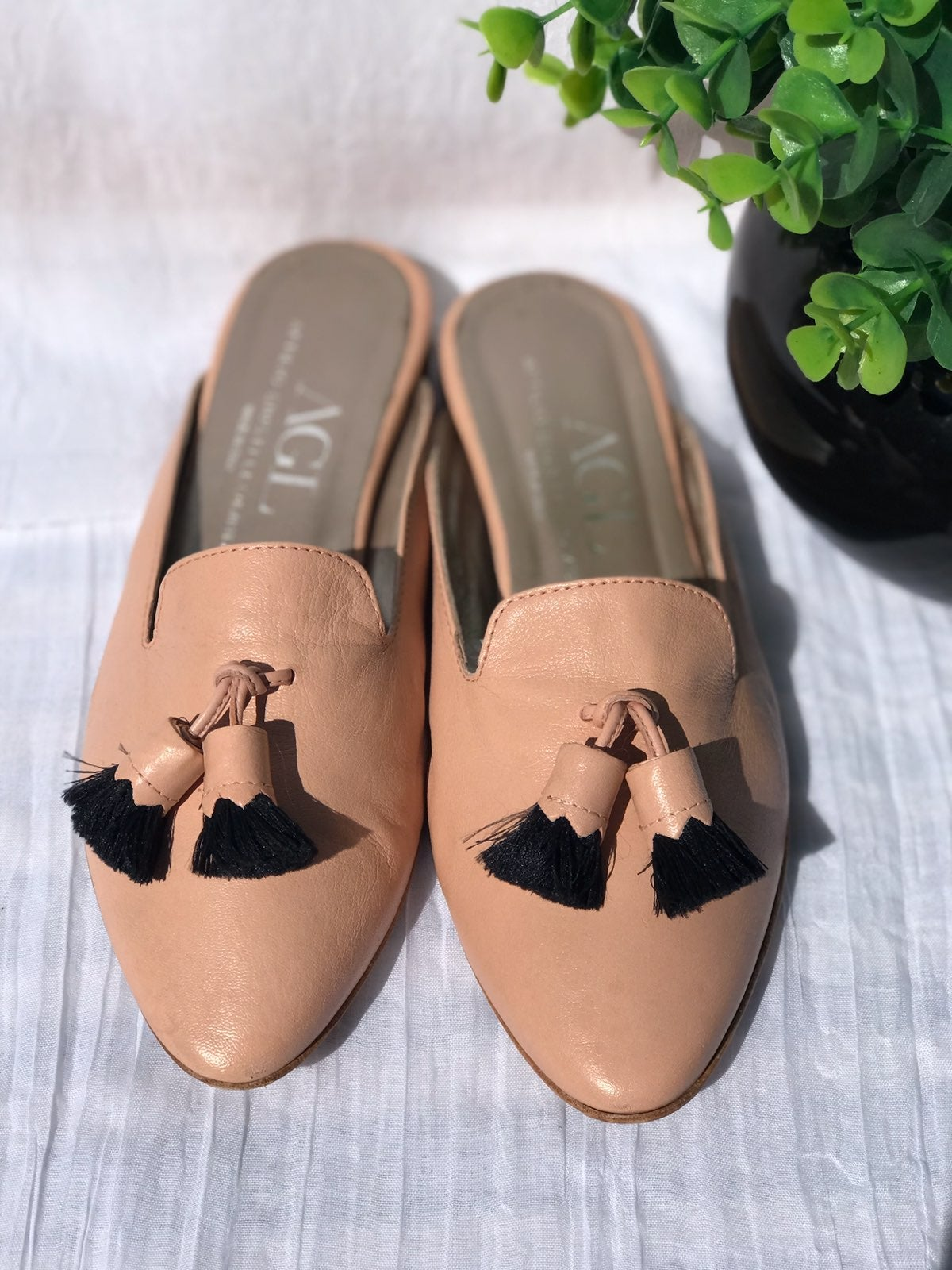 AGL nude pink mules witht tassel