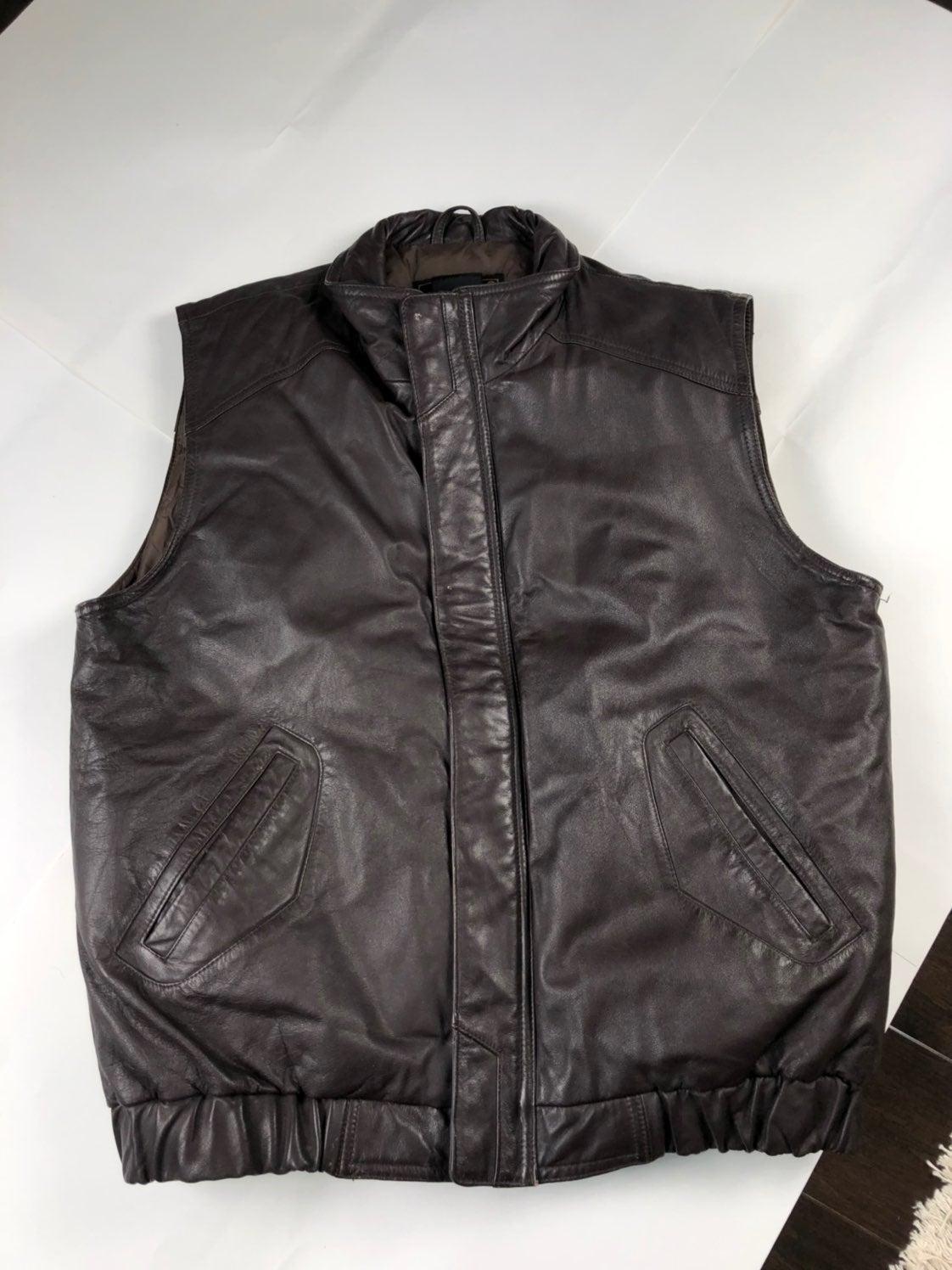 Eddie Bauer Leather Down Fill Vest L