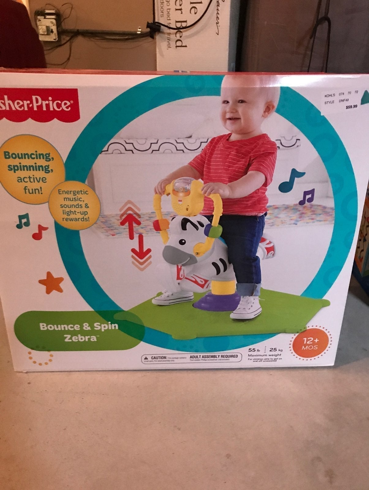 Fisher price Bounce and spin zebra NEW