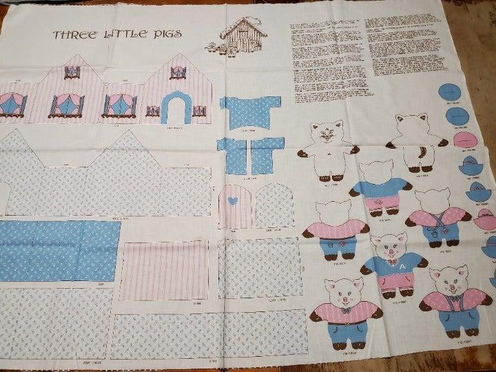 Vintage Three Little Pigs Fabric Panel