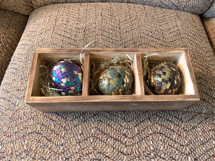 3 Dragon Eggs in Wood Crate Handmade