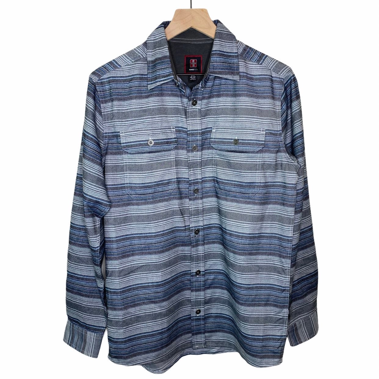 Swiss Tech Striped Flannel Shirt Size S