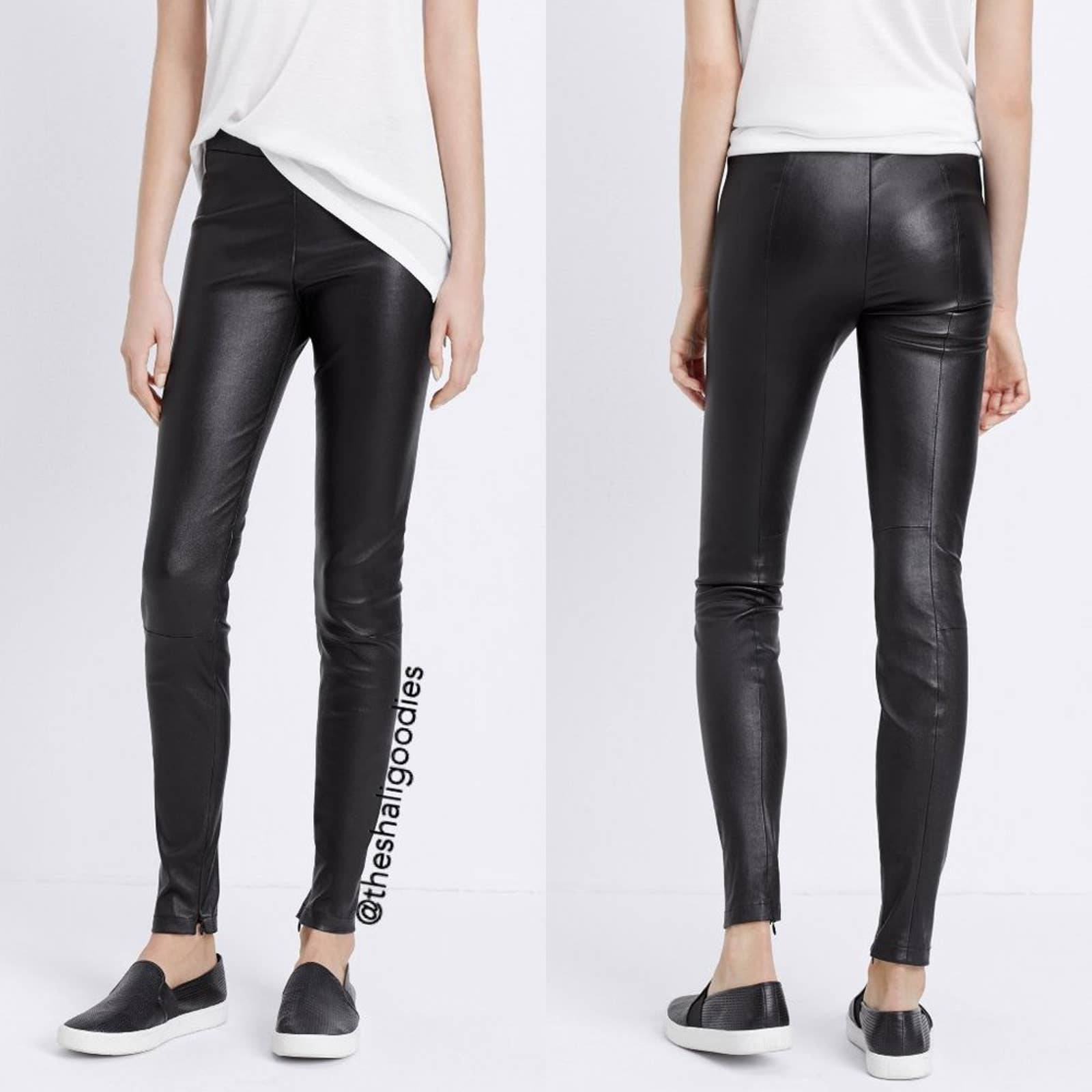 VINCE Ankle Zip Leather Legging Pants