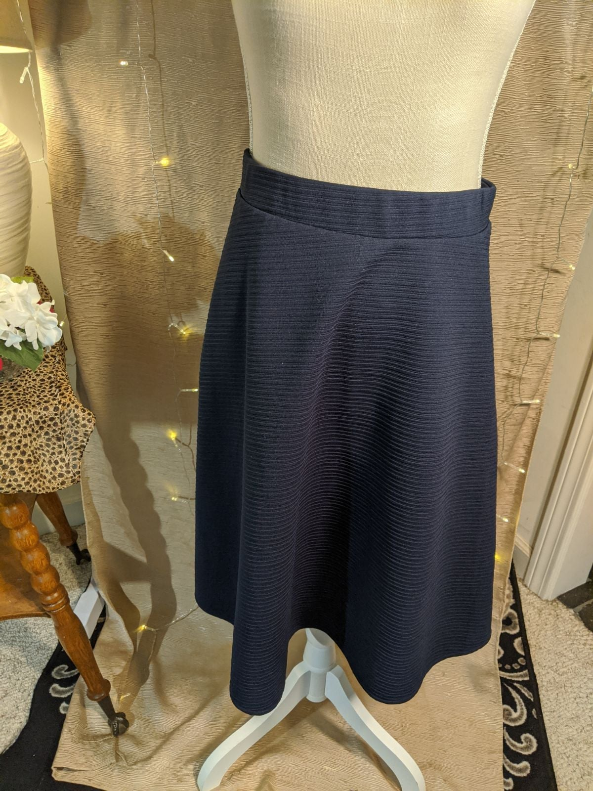 Navy blue Cato skirt, full, midi