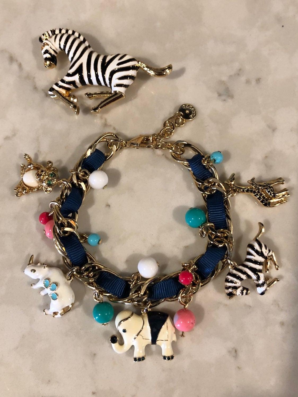 Zebra Brooch & Charm Bracelet