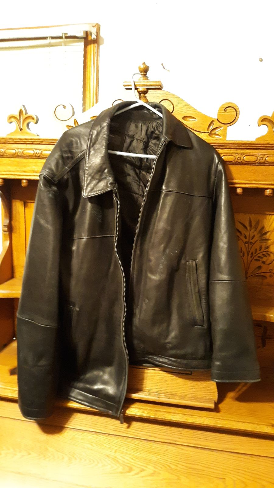 Perry Ellis Black Lambskin Coat Large