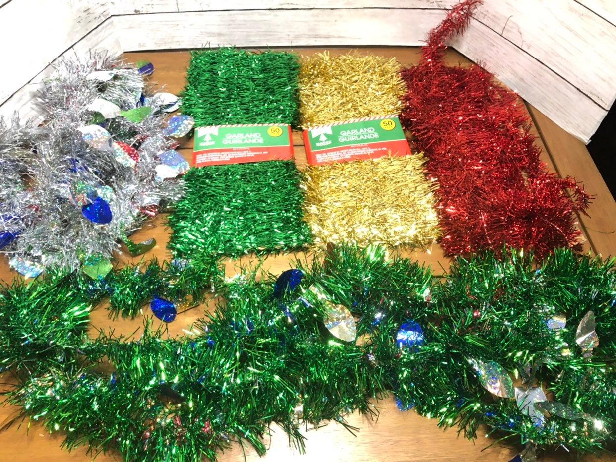 Christmas tinsel garland lights