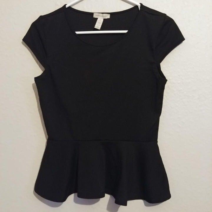 Black Short Sleeve Skirted Top Size M