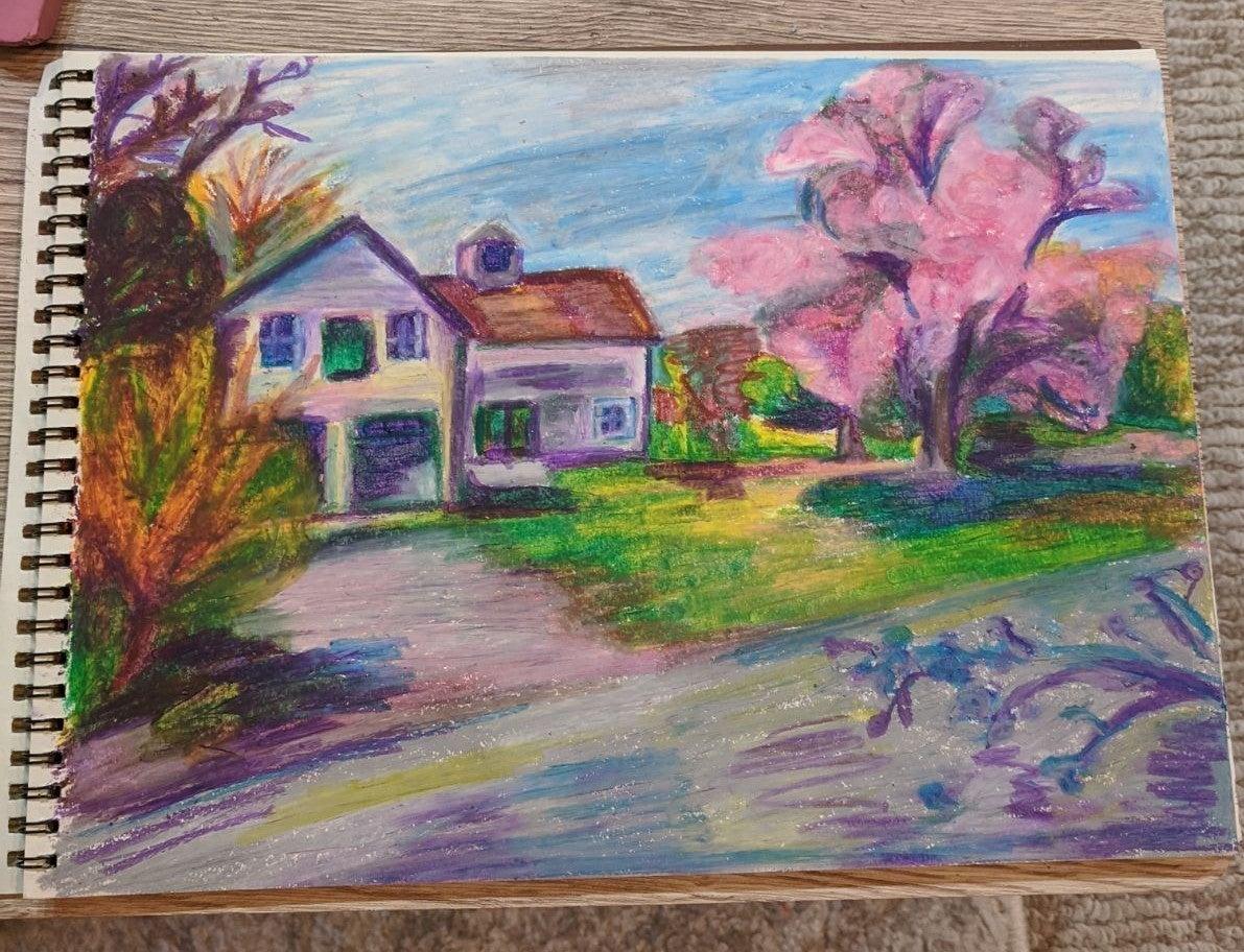 Oil Pastel Drawing of Rural Scenery